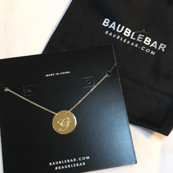 66 off baublebar jewelry monogram disc bauble bar necklace g monogram disc bauble bar necklace g mozeypictures Choice Image